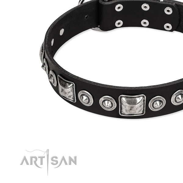 Full grain genuine leather dog collar made of reliable material with embellishments