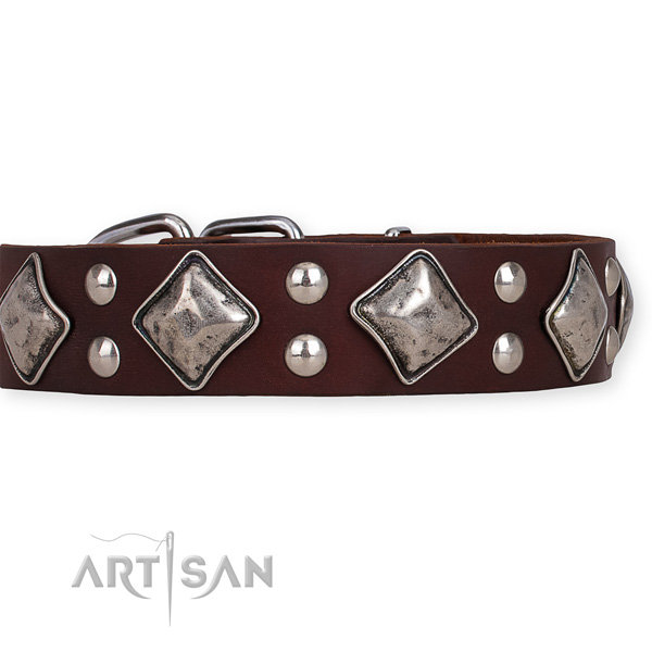 Natural leather dog collar with exquisite reliable decorations