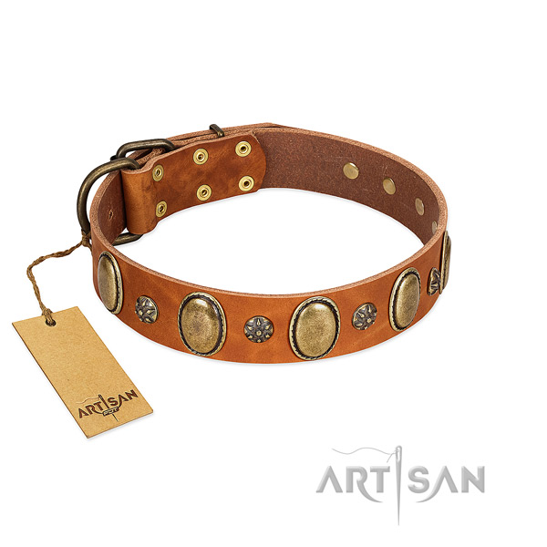 Easy wearing soft full grain leather dog collar with decorations