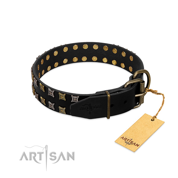 Strong full grain genuine leather dog collar handmade for your pet