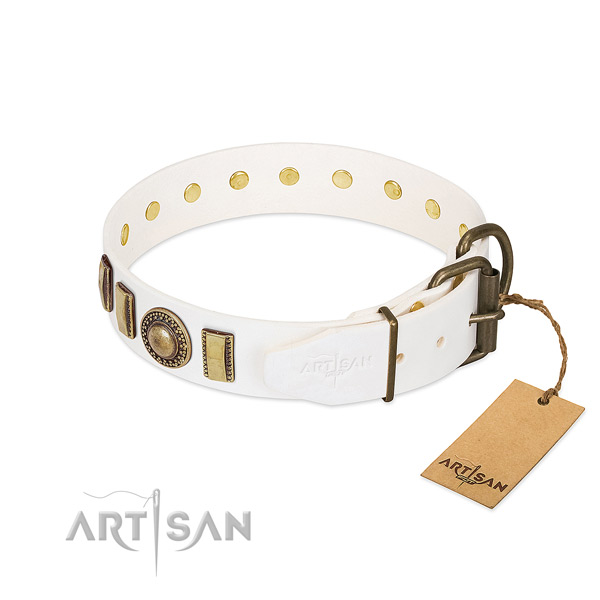 Decorated full grain genuine leather dog collar with corrosion resistant buckle
