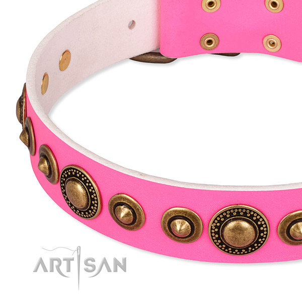 Soft leather dog collar crafted for your impressive four-legged friend