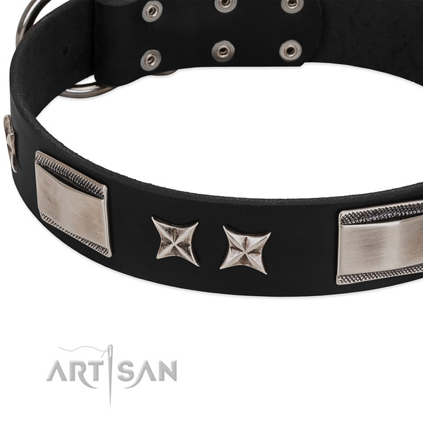Best quality full grain leather dog collar with corrosion proof buckle