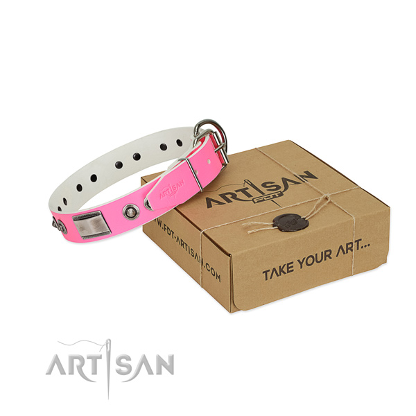 Stylish genuine leather collar with embellishments for your doggie