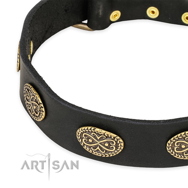 Exquisite full grain genuine leather collar for your beautiful doggie
