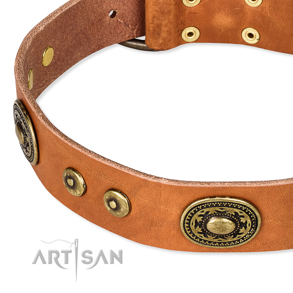 Natural genuine leather dog collar made of best quality material with embellishments