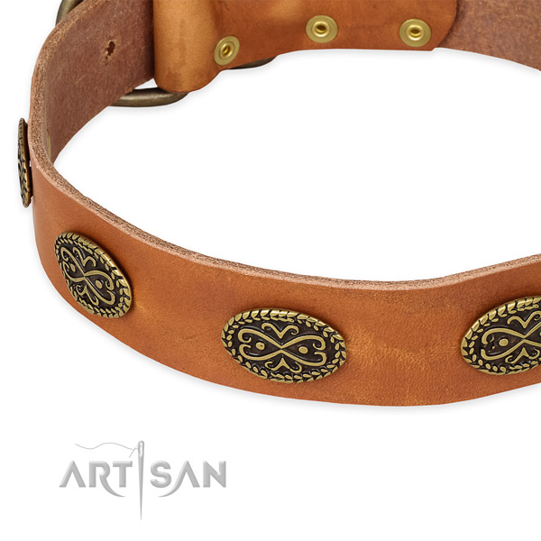 Decorated genuine leather collar for your beautiful pet