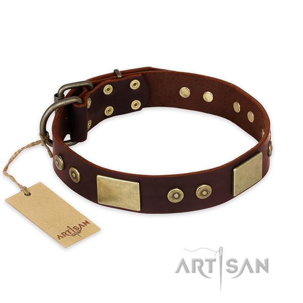 Exquisite natural genuine leather dog collar for handy use