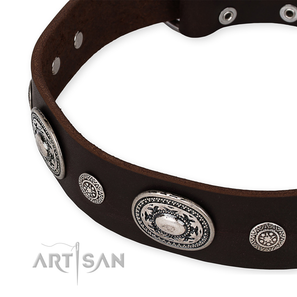 Soft leather dog collar handmade for your impressive doggie