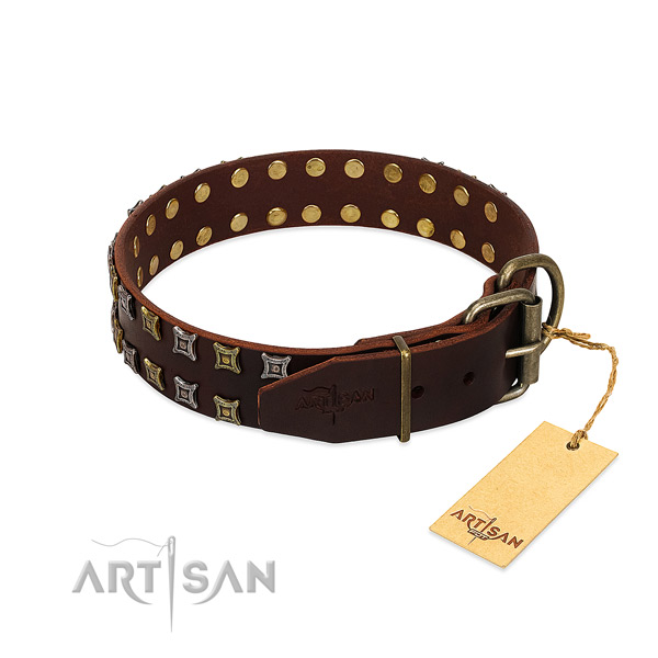 Best quality natural leather dog collar created for your doggie
