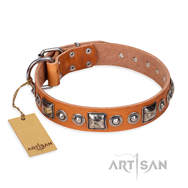Natural genuine leather dog collar made of reliable material with reliable fittings