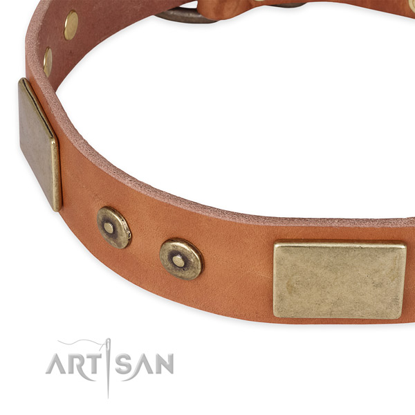 Durable hardware on genuine leather dog collar for your doggie