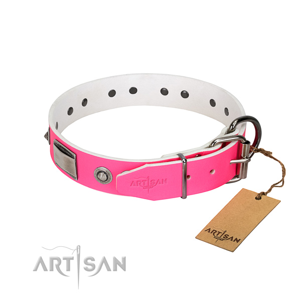 Awesome genuine leather collar with embellishments for your canine