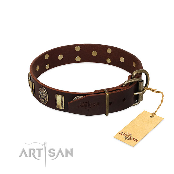 Full grain natural leather dog collar with corrosion resistant D-ring and studs