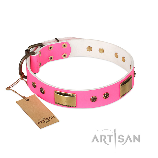 Unusual full grain genuine leather collar for your doggie