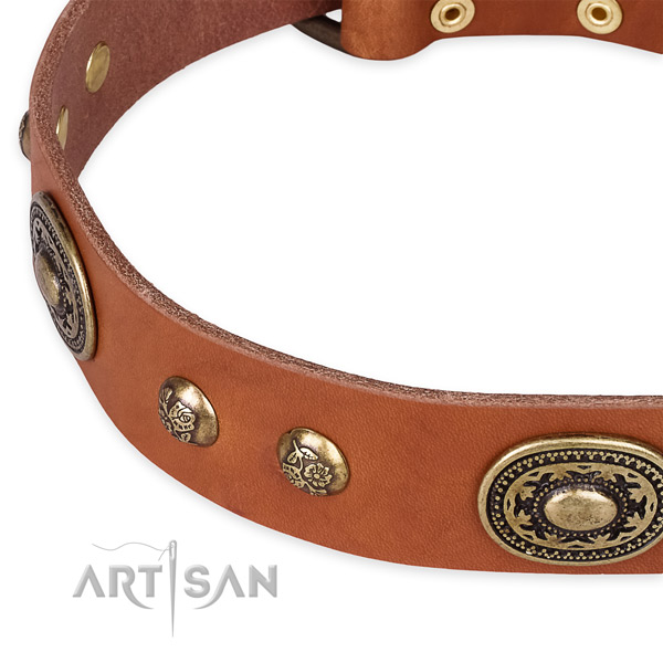 Incredible full grain genuine leather collar for your stylish doggie