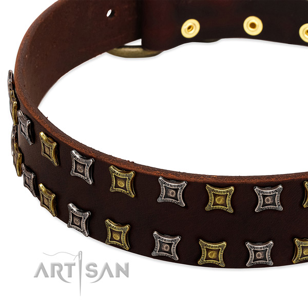 Reliable full grain genuine leather dog collar for your impressive dog