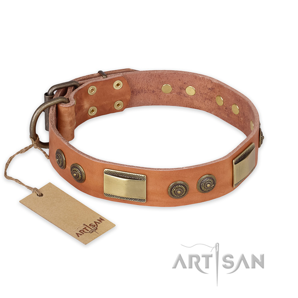 Adjustable genuine leather dog collar for daily use
