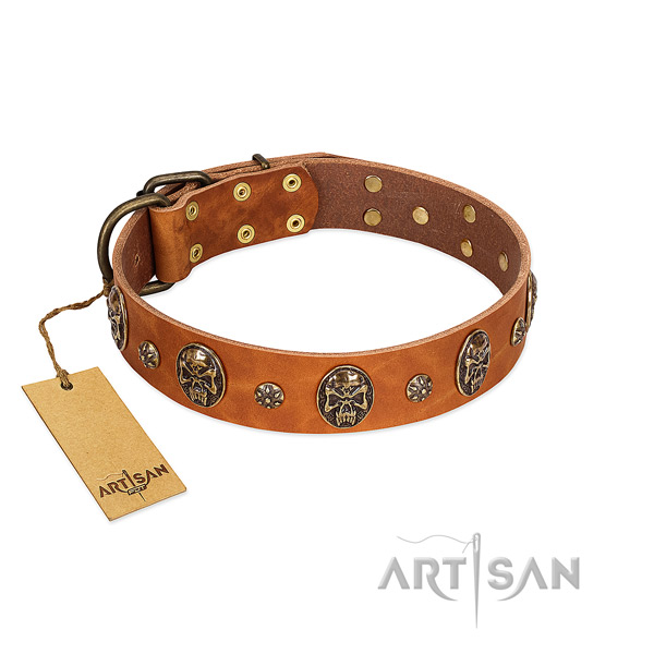 Comfortable genuine leather collar for your canine