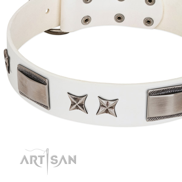 Gentle to touch full grain leather dog collar with rust-proof hardware