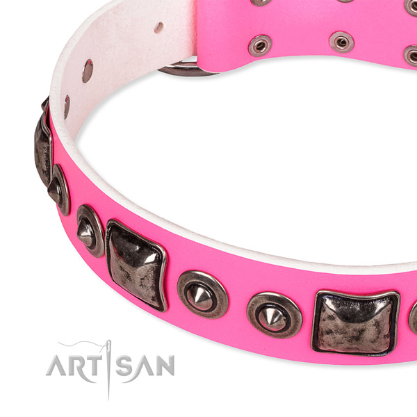 High quality full grain genuine leather dog collar handmade for your stylish pet