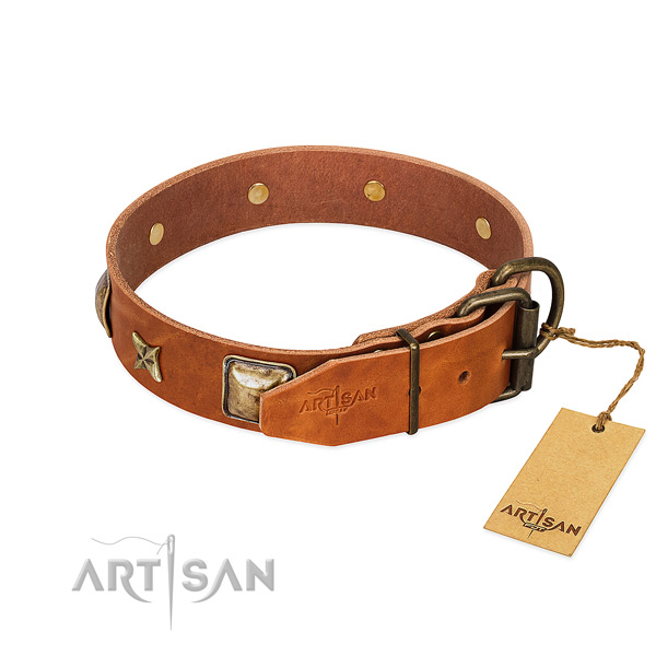Full grain genuine leather dog collar with reliable buckle and adornments