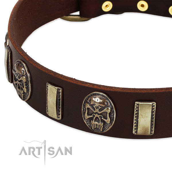 Corrosion proof hardware on full grain natural leather dog collar for your canine