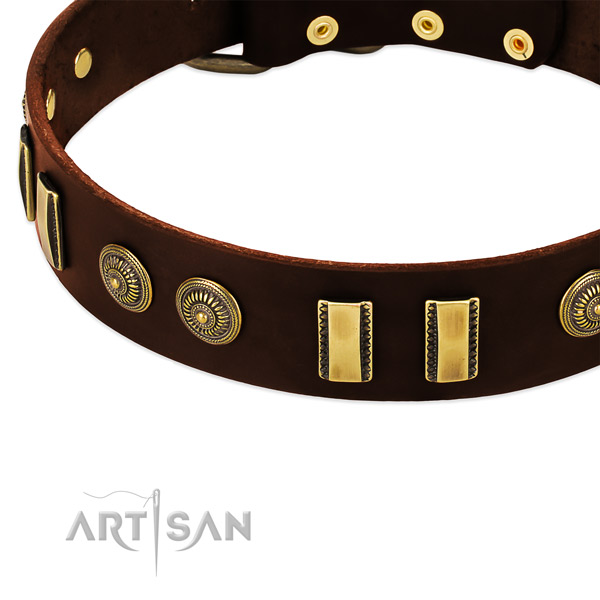 Rust resistant fittings on natural leather dog collar for your four-legged friend