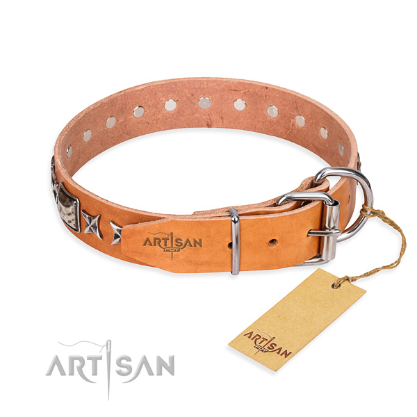Best quality studded dog collar of genuine leather