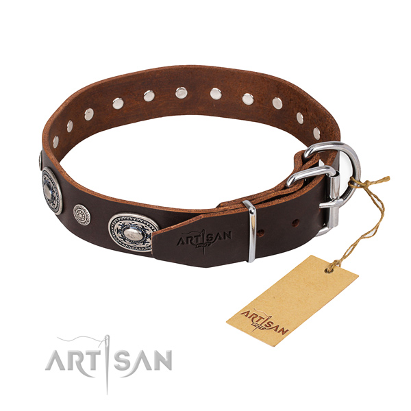 Reliable natural genuine leather dog collar crafted for daily walking