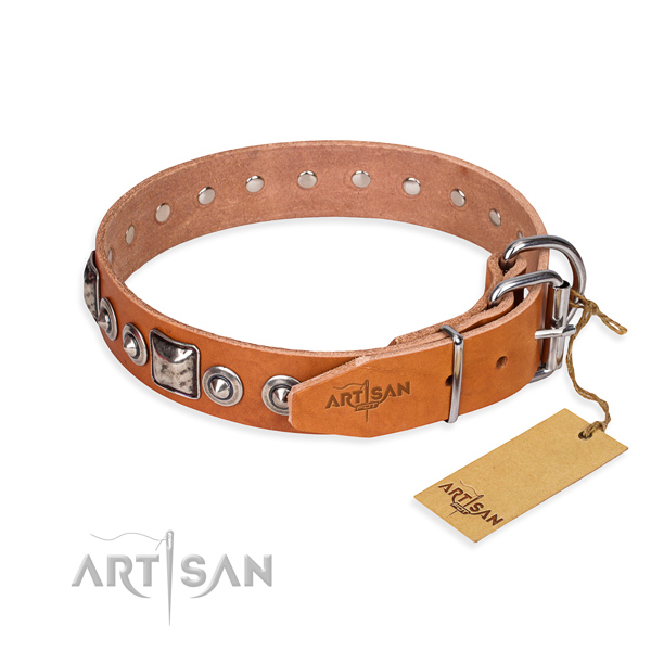 Soft to touch full grain genuine leather dog collar handmade for everyday use