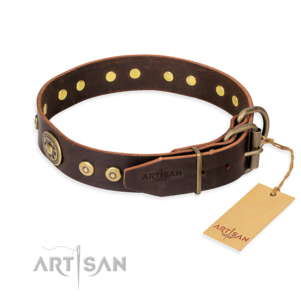 Full grain genuine leather dog collar made of high quality material with corrosion proof studs