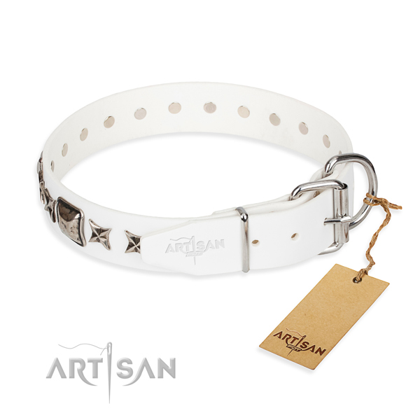 Top quality adorned dog collar of natural leather