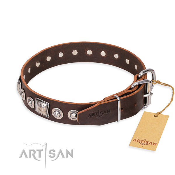 Full grain genuine leather dog collar made of gentle to touch material with reliable embellishments