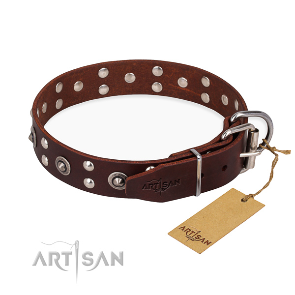 Corrosion proof D-ring on full grain natural leather collar for your handsome four-legged friend