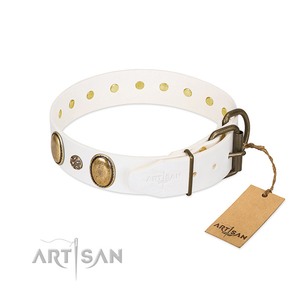 Stylish walking soft to touch full grain genuine leather dog collar