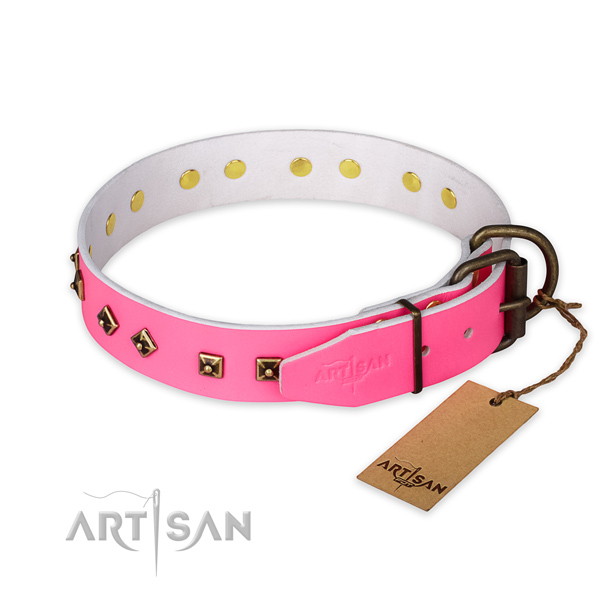 Durable fittings on genuine leather collar for stylish walking your doggie
