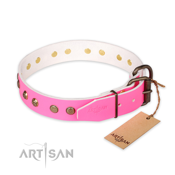 Rust-proof D-ring on full grain leather collar for your handsome dog