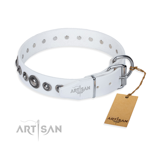 Genuine leather dog collar made of best quality material with corrosion proof decorations
