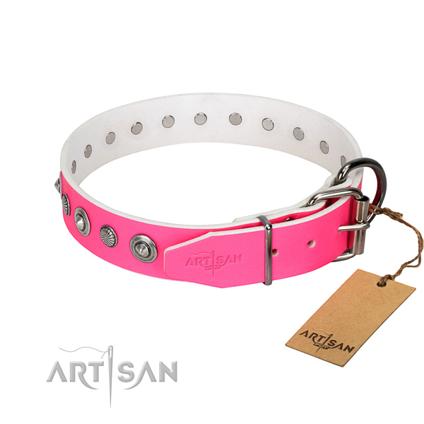 Top quality genuine leather dog collar with exquisite studs