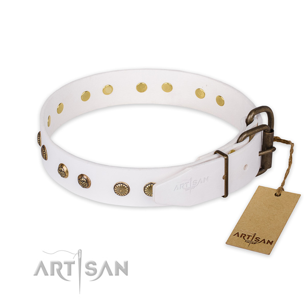 Rust resistant buckle on full grain genuine leather collar for your stylish dog