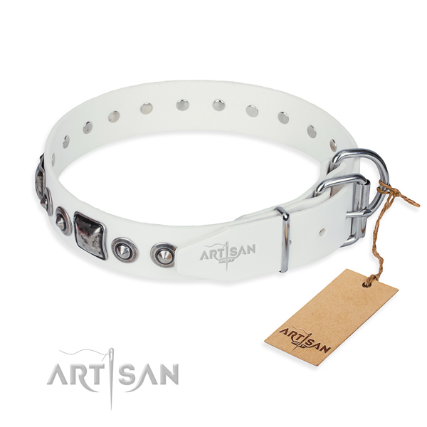Flexible full grain genuine leather dog collar made for everyday use