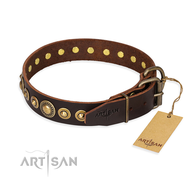 Best quality full grain genuine leather dog collar handcrafted for handy use