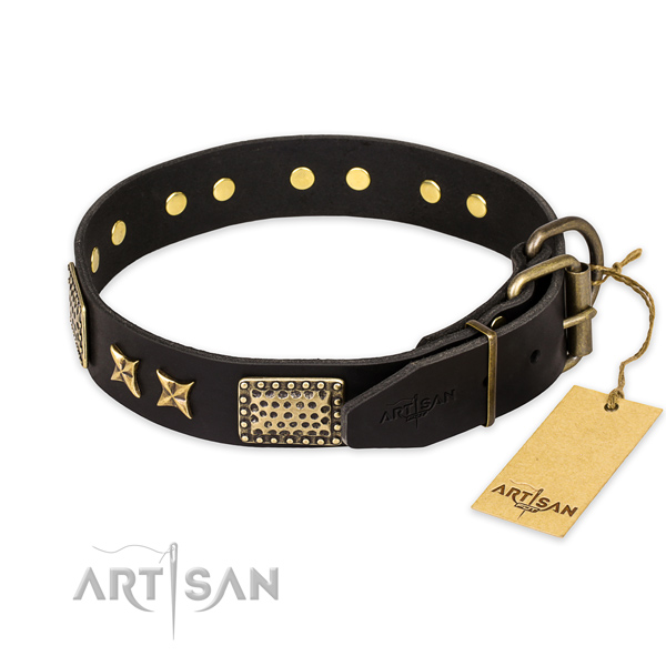 Strong hardware on genuine leather collar for your stylish four-legged friend