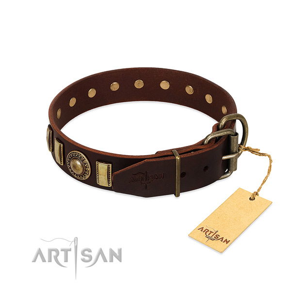 Inimitable natural leather dog collar with rust-proof hardware