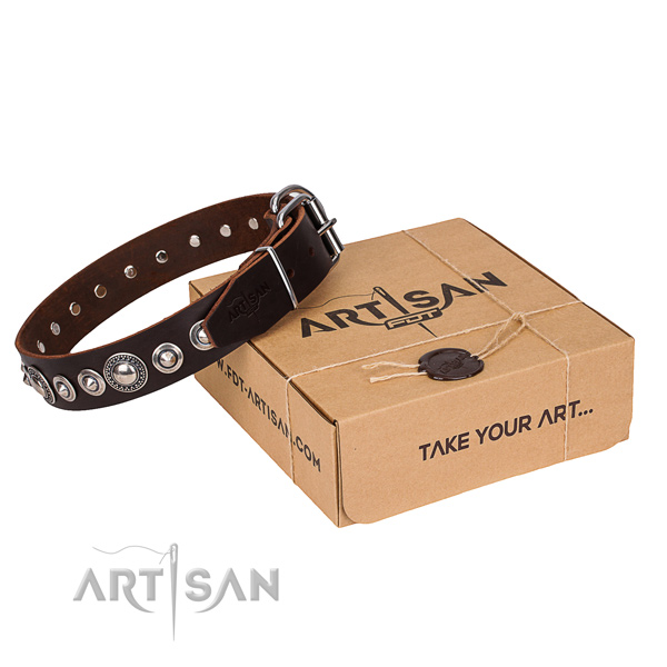Full grain leather dog collar made of high quality material with strong D-ring