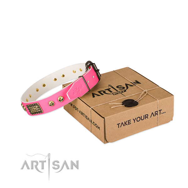 Durable decorations on dog collar for easy wearing