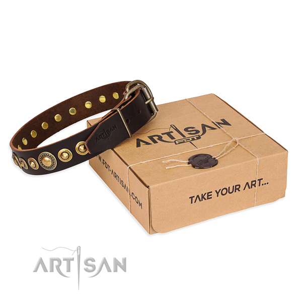 Best quality leather dog collar handcrafted for handy use