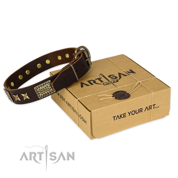 Corrosion proof hardware on full grain natural leather collar for your attractive dog