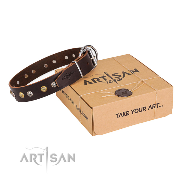 Strong leather dog collar crafted for comfy wearing